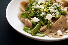 Farro Pasta With Peas, Pancetta and Herbs Recipe - NYT Cooking Buttery Noodles, Pasta With Peas, Pea Recipes, Vegetarian Recipes, Healthy Recipes, Sugar Snap Peas, Butter Recipe, How To Cook Pasta, Italia