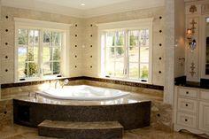 My Dream Home, Dream Homes, Retro Interior Design, Corner Tub, Dream Bathrooms, Jacuzzi, Master Bathroom, Home Improvement, New Homes