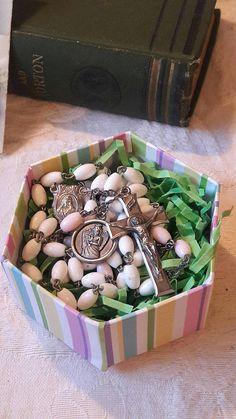 Girls Rosary White Pink Plastic Beads Guardian Angel