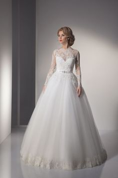 Long Sleeves Sheer Lace Wedding Dresses A-line Applique Beading Floor Length Bridal Wedding Gowns