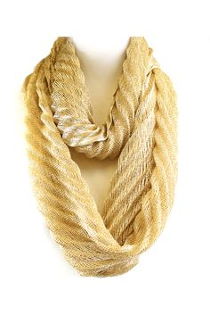 Pretty Shimmery Gold Infinity Scarf - a person could mix this with another colorful scarf too.
