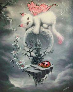 Fairy Dragon -Kitty and Castle,Adorable for a child's room or Nursery decor Reproduction Print,Birthday Magical Kitten Art Print Fantasy Kunst, Fantasy Art, Illustration Art, Illustrations, Fairy Art, Fantasy Creatures, Cat Art, Fairy Tales, Kawaii