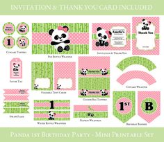 Items similar to Panda Birthday Printable Mini Set, Party Printable Mini Set, Party printable set, - Invitation & Thank you Card *** INCLUDED IN SET on Etsy 1st Birthday Banners, Birthday Party Invitations, 3rd Birthday, Panda Birthday Party, Panda Party, Bag Toppers, Pop Bottles, Tent Cards, Party Printables