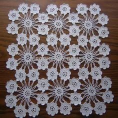 Turkish Lace-Crochet Work By Demet: White, Square,Mini Flower Doily - Diy Crafts Crochet Tablecloth Pattern, Crochet Bedspread, Crochet Square Patterns, Crochet Motifs, Filet Crochet, Irish Crochet, Hand Crochet, Crochet Lace, Crochet Stitches