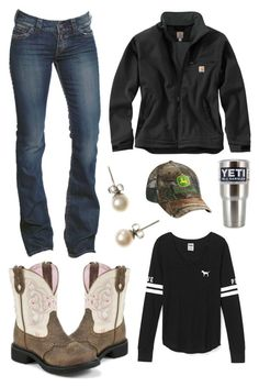 """I Should Go Get Some New Jeans"" by im-a-jeans-and-boots-kinda-girl on Polyvore featuring Justin Boots, Carhartt, Victoria's Secret, J.Crew, 1921 and John Deere"