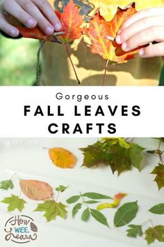 Stunning Fall leaf crafts for kids to make! The Autumn leaves are so beautiful and these crafts allow you to bring them inside and display them! Gorgeous art projects for kids to make that also make beautiful Fall displays. Easy Fall Crafts, Thanksgiving Crafts For Kids, Easy Arts And Crafts, Halloween Crafts For Kids, Crafts For Kids To Make, Kids Crafts, Autumn Activities For Kids, Fall Crafts For Toddlers, Fall Art Projects