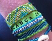 manchette de bracelets brésiliens vert et bleu