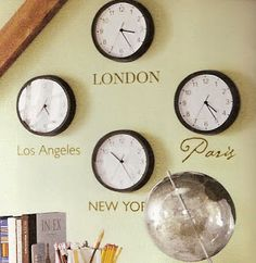 Time zone clocks - dining room/office hang around window in office