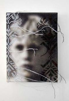 Hella Van t'Hof combines transfers of found and family photos with embroidery. The embroidered aspects are always unexpected and their relation to the image is not clear - the viewer's individual interpretation of the meaning of this juxtaposition is part of the viewing process of the piece.