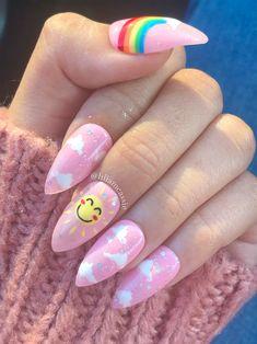 Colorful Nail Designs, Acrylic Nail Designs, Nail Art Designs, Colorful Nails, Glue On Nails, Gel Nails, Kawaii Nails, Nail Tattoo, Nail Art Videos