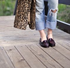 levis loafers leopard