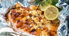 Lax i folie med somrig topping Cauliflower, Chili, Seafood, Mango, Chicken, Vegetables, Madness, Sea Food, Manga