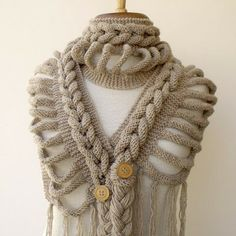Brasil Tricô   Crochê - Handmade  Xale gola Duanni Bufanda Trenzada 4349834a213