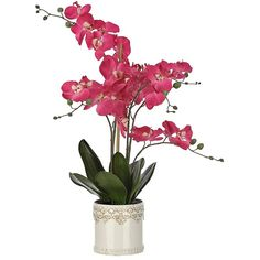 Pink Orchid Arrangement in White Metal Planter ($40) ❤ liked on Polyvore featuring home, home decor, floral decor, flower planters, white orchid arrangement, orchid planter, flower arrangement and orchid arrangement