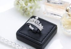 Princess Crown Engagement Ring  Queen Crown Ring  by sachisstudio, $23.00