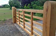 Automated Gate - Air dried oak five bar gate, Faversham, Kent - Oakleigh Manor Farm Fence, Backyard Fences, Fence Gate, Fencing, Farm Entrance, Driveway Entrance, Front Gates, Entrance Gates, Wooden Farm Gates