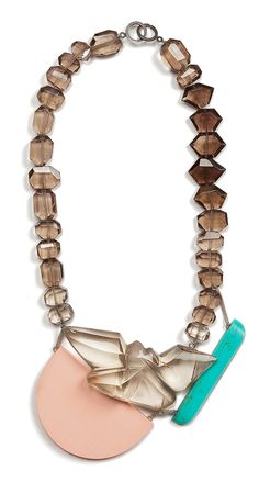 Denise Julia Reytan Necklace: LIVING MEMORY, 2011 Smoky quartz, reconstructed coral,reconstructed turquise, silver