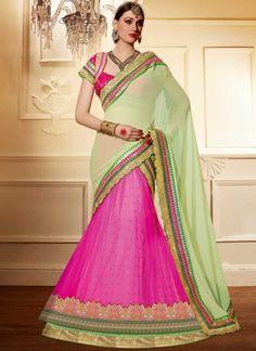 Sea Green Pink Embroidery Work Georgette Designer Wedding Lehenga Choli http://www.angelnx.com/Lehenga-Choli/Wedding-Lehenga-Choli