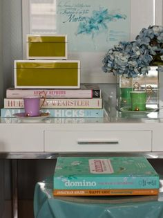 vignette: love the tray, boxes, books and hydrangeas