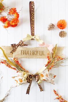 Thanksgiving Hoop Wreath with the Bow Loom by Laura Silva for We R Memory Keepers Thankful Heart, We R Memory Keepers, Burlap Ribbon, How To Make Bows, Fall Halloween, Grapevine Wreath, Grape Vines, Loom, Thanksgiving