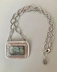Labradorite Necklace with handmade chain Heart Charm, Labradorite, Handmade Jewelry, Pendant Necklace, Chain, Bracelets, Handmade Jewellery, Necklaces, Jewellery Making