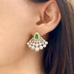 Pearls Emeralds and Diamond 18K Yellow Gold Earrings