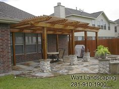 Back deck ideas - pergola with stone deck (LOVE!)