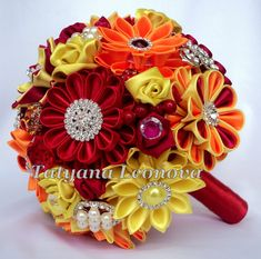 Brooch bouquet. Original handmade Wedding Bouquet in red, yellow, orange. Flowers made ​​of satin ribbon, decorated with jewelry. Bouquet decorated with