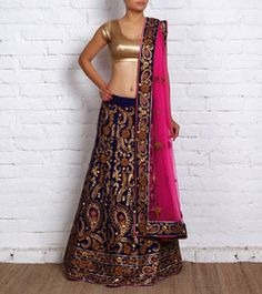 Blue Velvet Lehenga Set with Gota Work