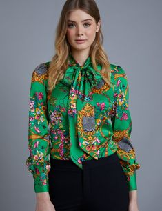 aae67b0b Women's Green Chain Print Fitted Satin Blouse - Single Cuff - Pussy Bow.  Hawes And CurtisGreen ...