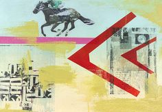 This collage style work feature a man on a horse against a colorful background. This piece is a part of a series including, Listen More, Observe More, and Move More.