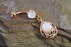 Glitter Opal Rose Gold Belly Button Ring