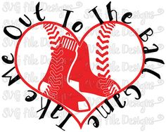 Take Me Out To The Ball Game Boston Red Sox Heart Laces Baseball Logo Cutting File Set in Svg, Eps, Dxf, Jpeg for Cricut and Silhouette
