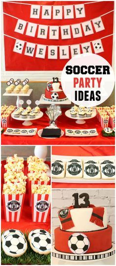 Any soccer fans? Check out this awesome dessert table with popcorn, cookies and cake! See more party planning ideas at CatchMyParty.com!