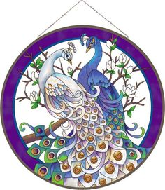 Art Panel-APM513R-White/Blue Peacocks - White/Blue Peacocks
