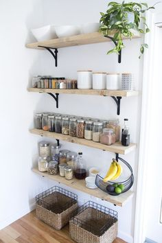 Other ideas: Small kitchen organization ideas DIY baking kitchen .- Other ideas: Small kitchen organization ideas DIY baking kitchen organization kitchen cabinet organization kitchen worktops organization … – // Tiny House // - Home Decor Kitchen, Interesting Shelving, Kitchen Trends, Rustic Farmhouse Kitchen, Kitchen Remodel, Small Space Kitchen, Home Decor, Home Kitchens, Kitchen Organization Diy