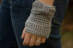 Gray Bow Fingerless Gloves Wrist Warmers size by WellRavelled, $10.00