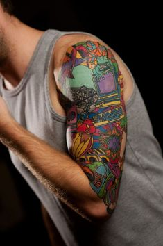 Half Sleeve Tattoos Lower Arm, Half Sleeve Tattoos Color, Half Sleeve Tattoos Drawings, Colorful Sleeve Tattoos, Unique Half Sleeve Tattoos, Cool Shoulder Tattoos, Half Sleeve Tattoos Designs, Mens Shoulder Tattoo, Shoulder Tattoos For Women