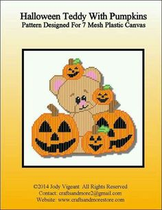 HALLOWEEN TEDDY AND PUMPKINS by JODY VIGEANT -- WALL HANGING 1/2