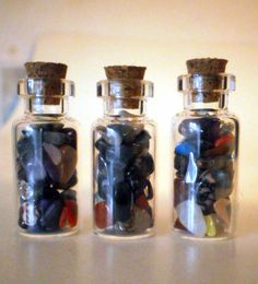 Set of 3 Gemstone Vials Glass Jars Lucky Charm Minerals Healing Peace Rocks Treasure Good Fortune Geology Collectible Gem Gift