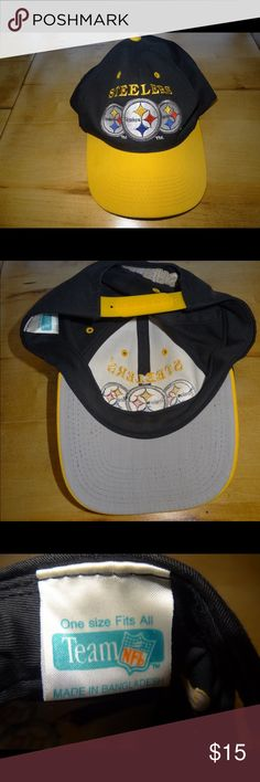 NWOT Pittsburgh Steelers Team NFL Black Yellow Hat NWOT Pittsburgh Steelers Team NFL Black Yellow Triple Logo Hat Cap One Size Team NFL  Accessories Hats