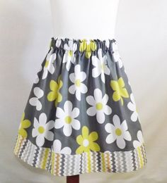 Girl's Skirt Grey and Citron Flowers Skirt by PinkPoppiesClothing, $15.00