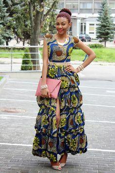 ModaVracha's Spot | Personal Style | Fashion Blog: Long Ankara Dress With Front Slit
