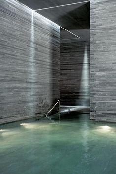 Thermal Baths Vals by Swiss architect Peter Zumthor, built into the hillside of Graubünden, Switzerland.
