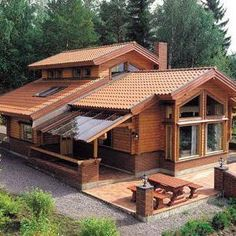 Architecture – Enjoy the Great Outdoors! Log Cabin Homes, Log Cabins, Cabins And Cottages, House In The Woods, Home Fashion, My Dream Home, Exterior Design, Exterior Paint, Future House