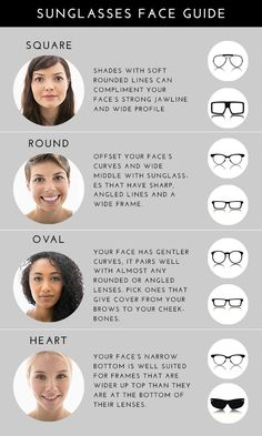 The Best Types of Sunglasses for Every Face Eyeglasses For Round Face, Glasses For Oval Faces, Glasses For Your Face Shape, Eyeglasses For Women, Eye Glasses, Face Shape Sunglasses, Types Of Sunglasses, Womens Glasses Frames, Oval Face Shapes