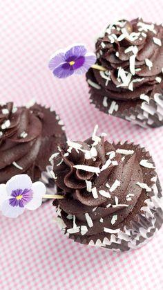 Cupcakes de Chocolate Negro y Coco al Ron