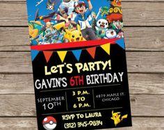Muestra Banner fiesta de cumpleaños POKEMON por HappyBubby en Etsy