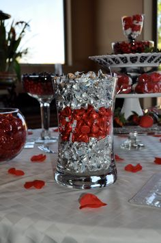Candy Table - Silver and Purple  Silver Bells in Vase