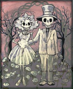 Day of the Dead Wedding - Mexican Folk Art Bride and Groom Wedding Gift - Home Decor Wall Art Poster